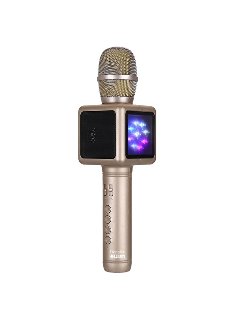 Doppler Karaoke Mikrofon - Işıklı - Ses Değiştirme Altın
